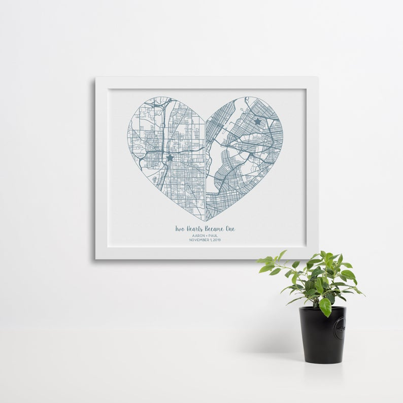 Two Hearts Became One Custom Street Map Poster Custom Street