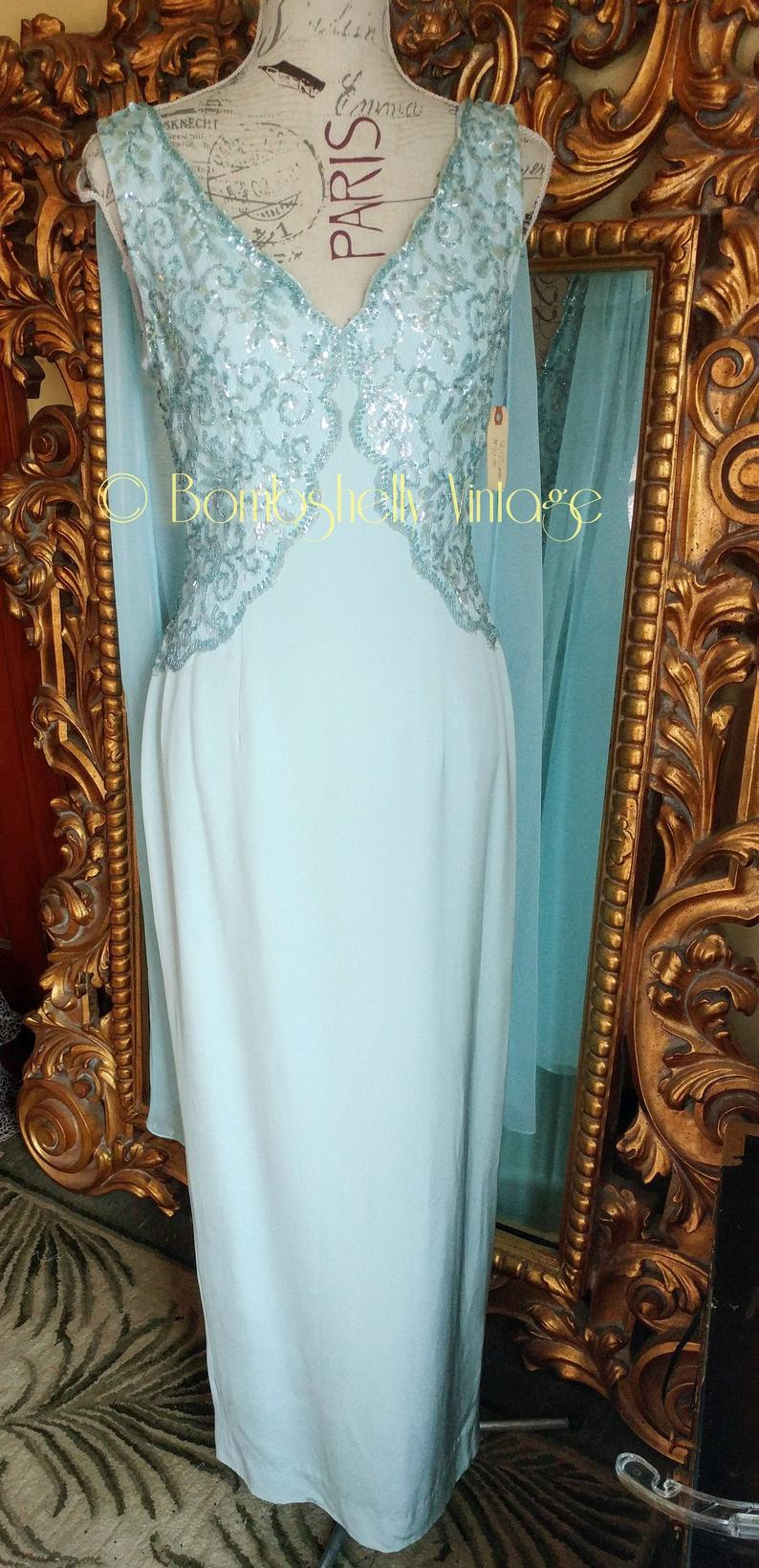 Vintage Sherri Hill Soft Blue Sequined Gown