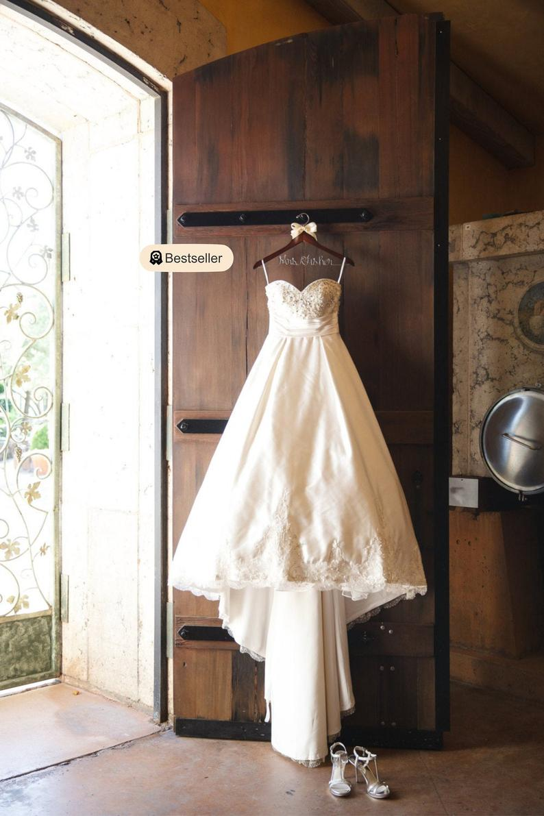 Wedding dress hanger bride gift Rustic wedding Rustic chic