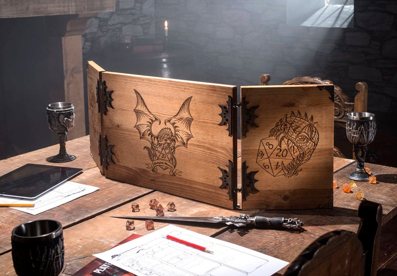 Wooden Dungeon Master Screen RPG Games Table Top Games