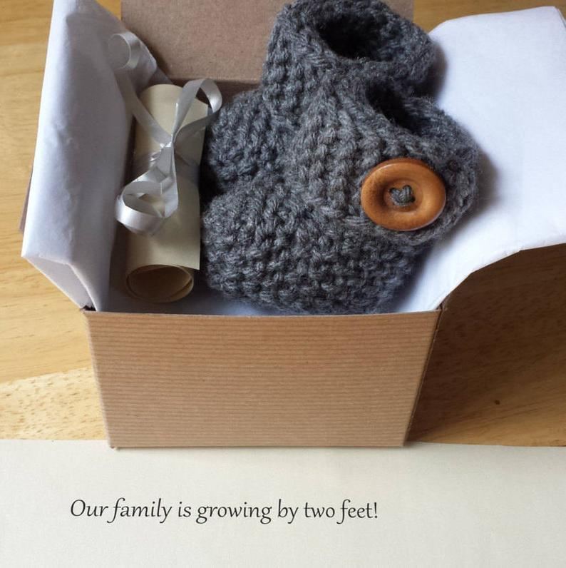 Baby Booties Pregnancy announcement Baby reveal idea Baby