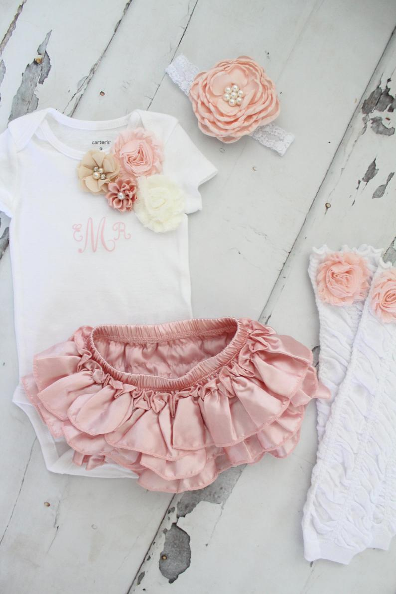 Baby Girl 1st Birthday Outfit Set up to 4 Items Blush Ruffle