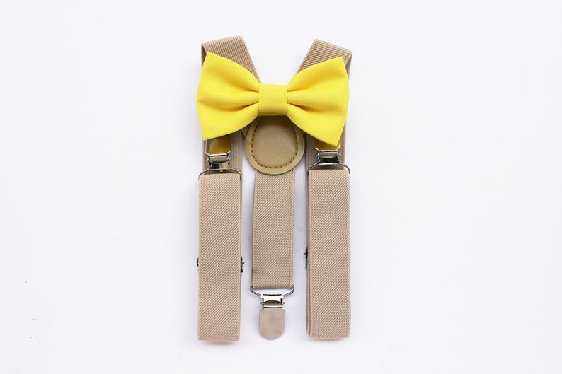Baby bow tie yellow and suspenders beige for baby boybow ties