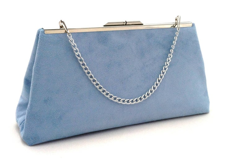 Blue Suede Handbag  Light Blue Purse  Blue Suede Evening