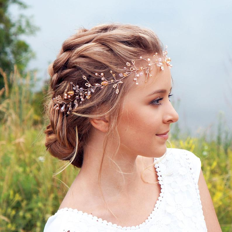 Bridal Hair Vine-Wedding hair vine-Rose gold hair vine  Long
