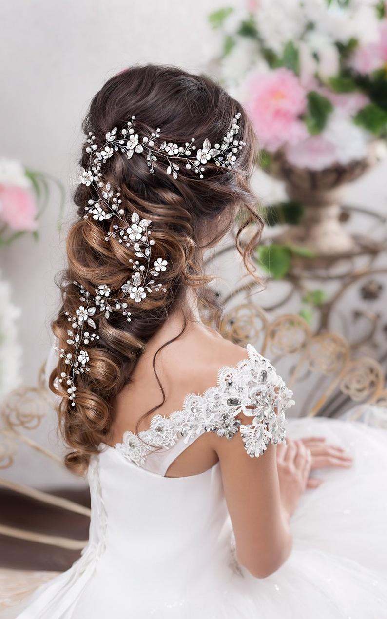 Bridal hair vine Long hair vine Wedding hair vine Flower hair