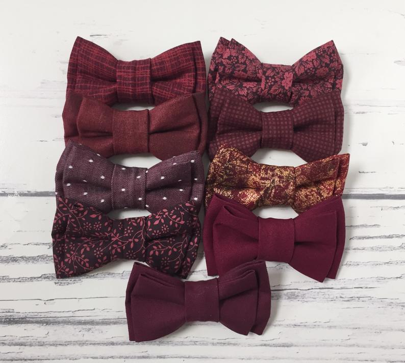 Burgundy Bow Tie Burgundy Bowties Wedding Bow Ties Groom