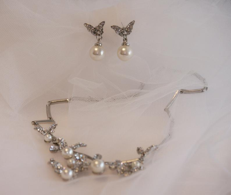 Butterfly Bridal jewelry set modern Necklace with Earring