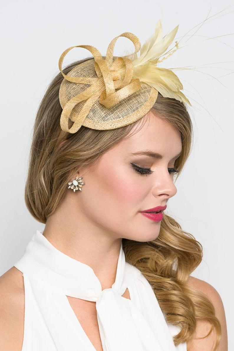 Champagne Gold Mini Fascinator  Arianna Mini Mesh