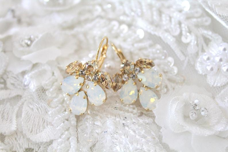 Crystal Bridal earrings White opal earrings Bridal jewelry