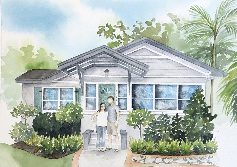 Custom home portrait with faceless family portrait  House
