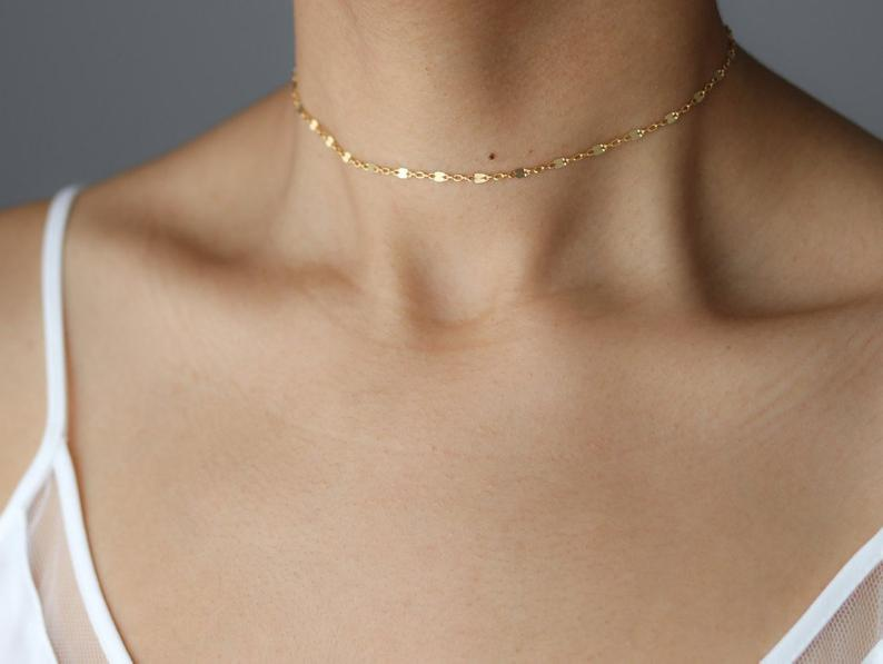 Dainty Gold Choker Necklace  Gold Chain Choker  Delicate