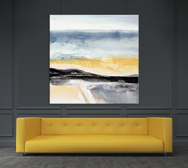 Distant City 1. Giant Abstract Art Print on Canvas. 54 x 54 inches.