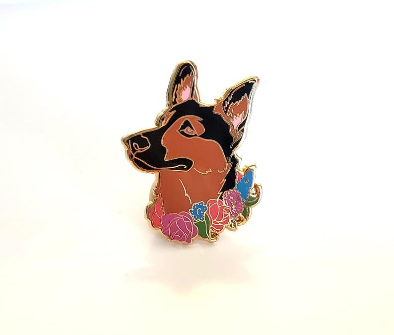 Dog Hard Enamel Pin Birthday Present for Dog Lover German