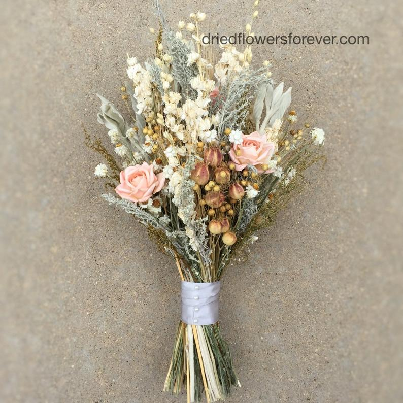 Dried Flower Wedding Bouquet  Peach/Blush Keepsake Bridal
