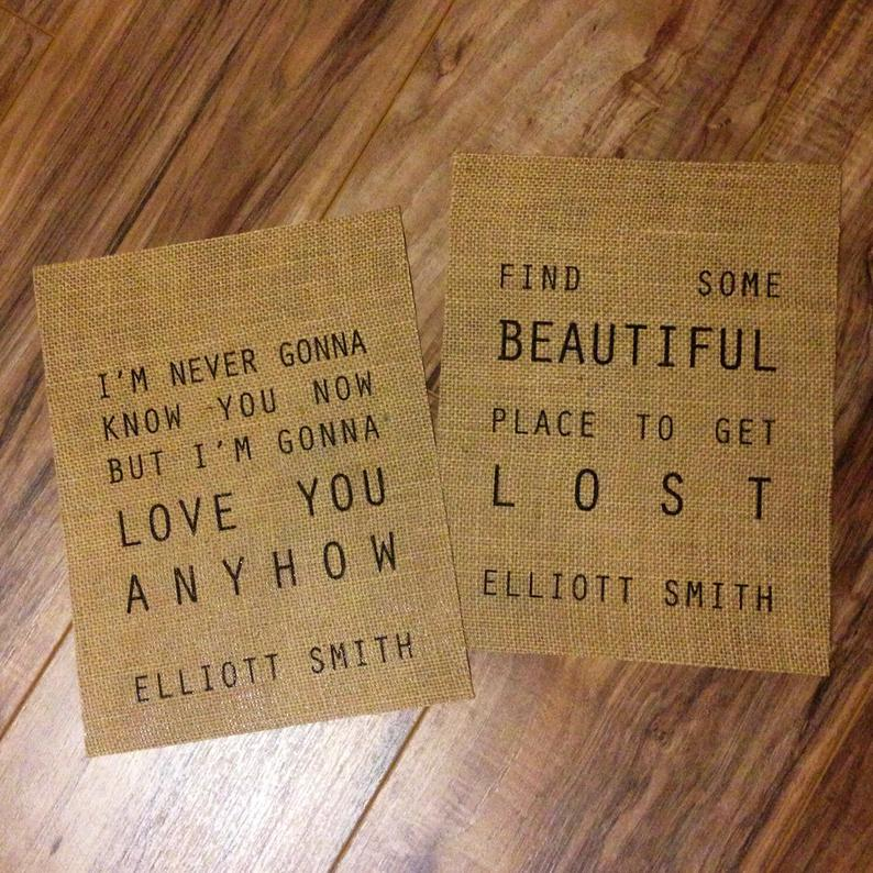 Elliott Smith  Lyrics  Burlap Print