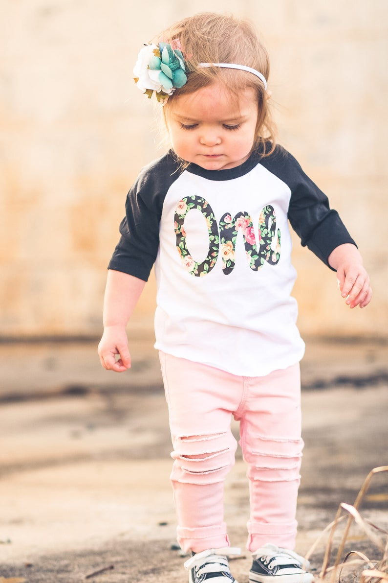 First birthday outfit girl  Floral first birthday shirt