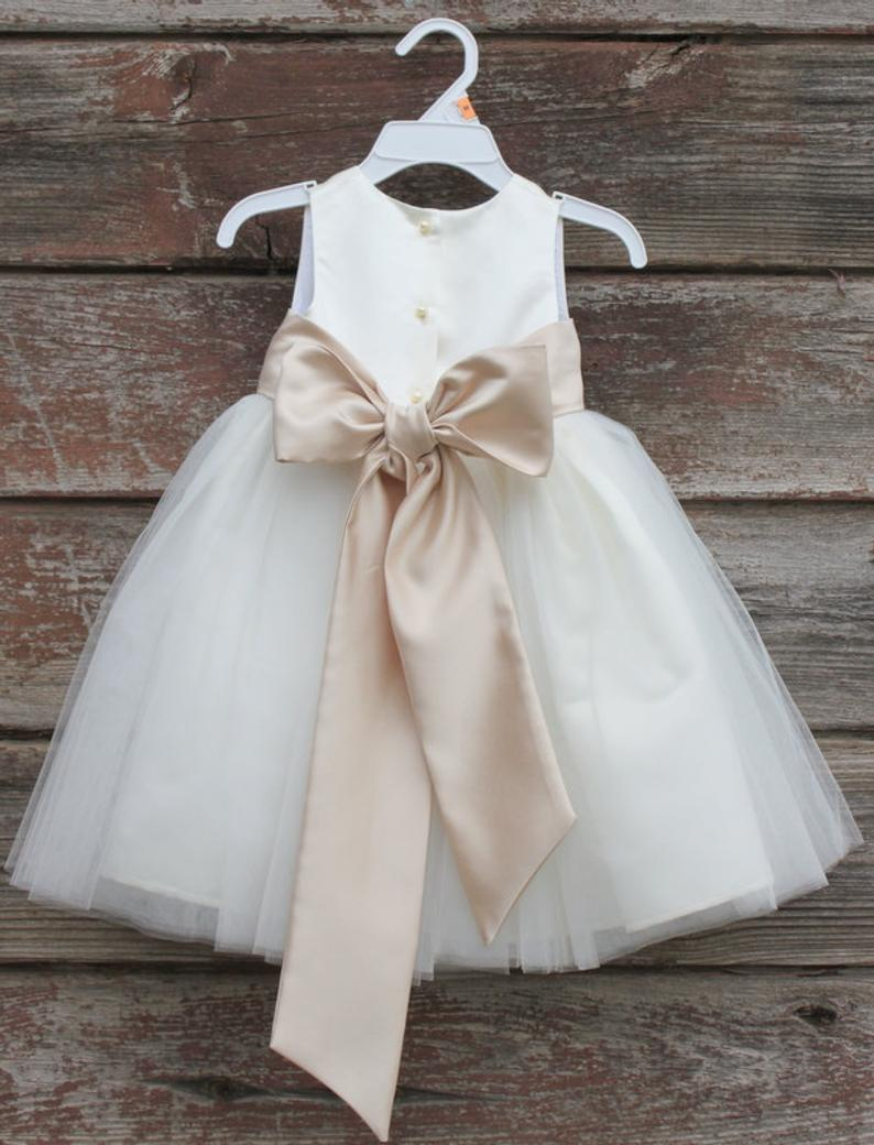 Flower Girl Dresses  IVORY with Champagne FD0FL  Wedding