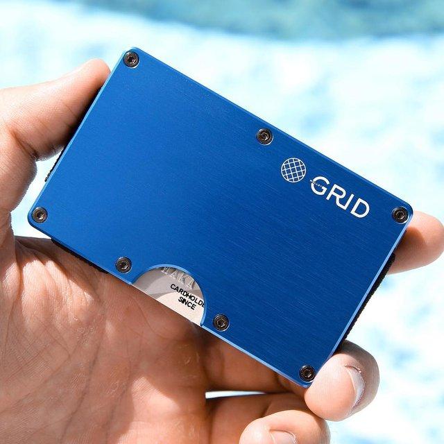 GRID Wallet in Blue Aluminum