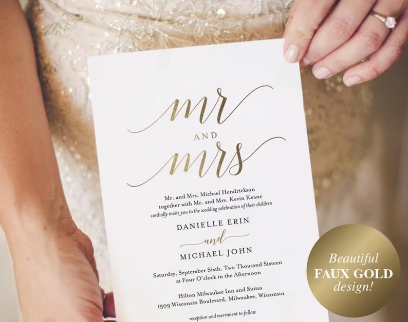 Gold Wedding Invitation Wedding Invitation Template Wedding