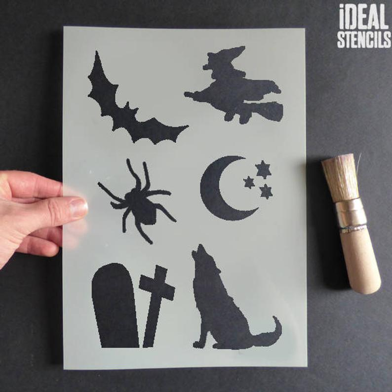 Halloween Stencil Craft Sheet Halloween Stencil Set Paint