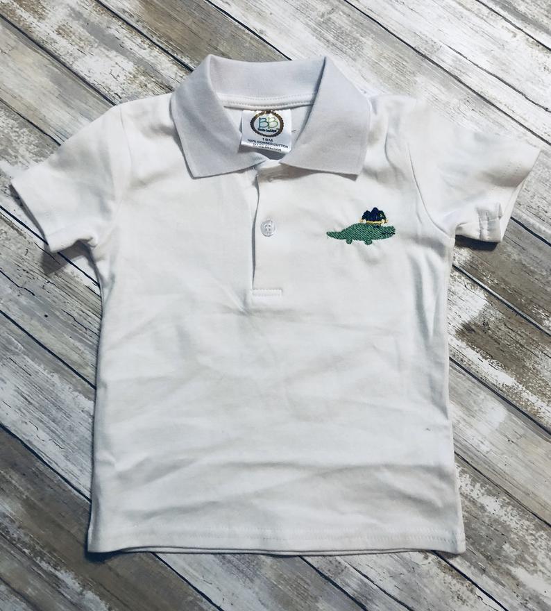 Mardi Gras alligator-embroidered shirt