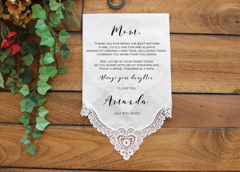 Mother of the Bride Gift Wedding Handkerchief CUSTOMIZED