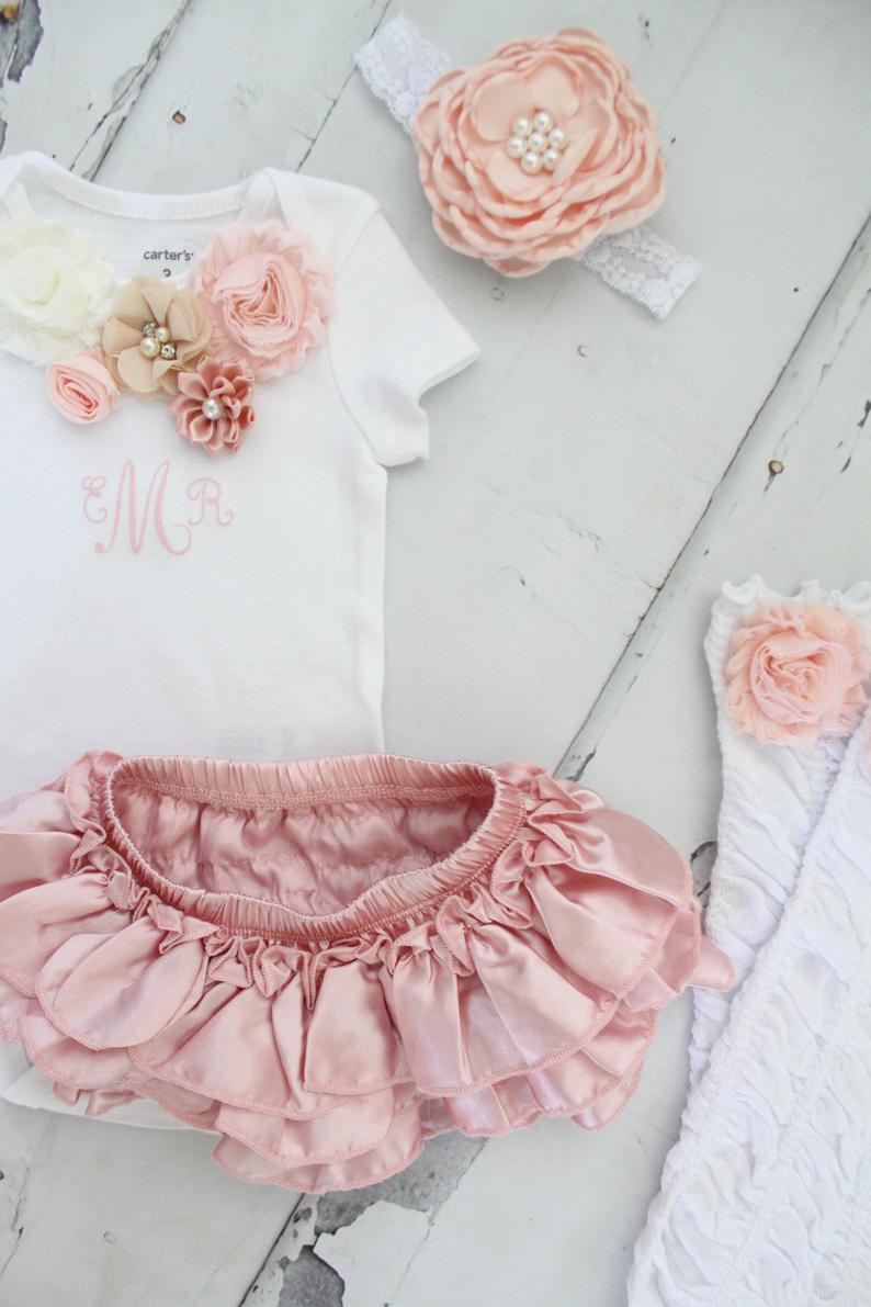 Newborn Baby Girl Coming Home Outfit Set of up to 4 Items