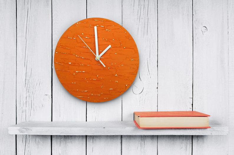 Orange clock modern WALL CLOCK UNIQUE wood wall clock orange