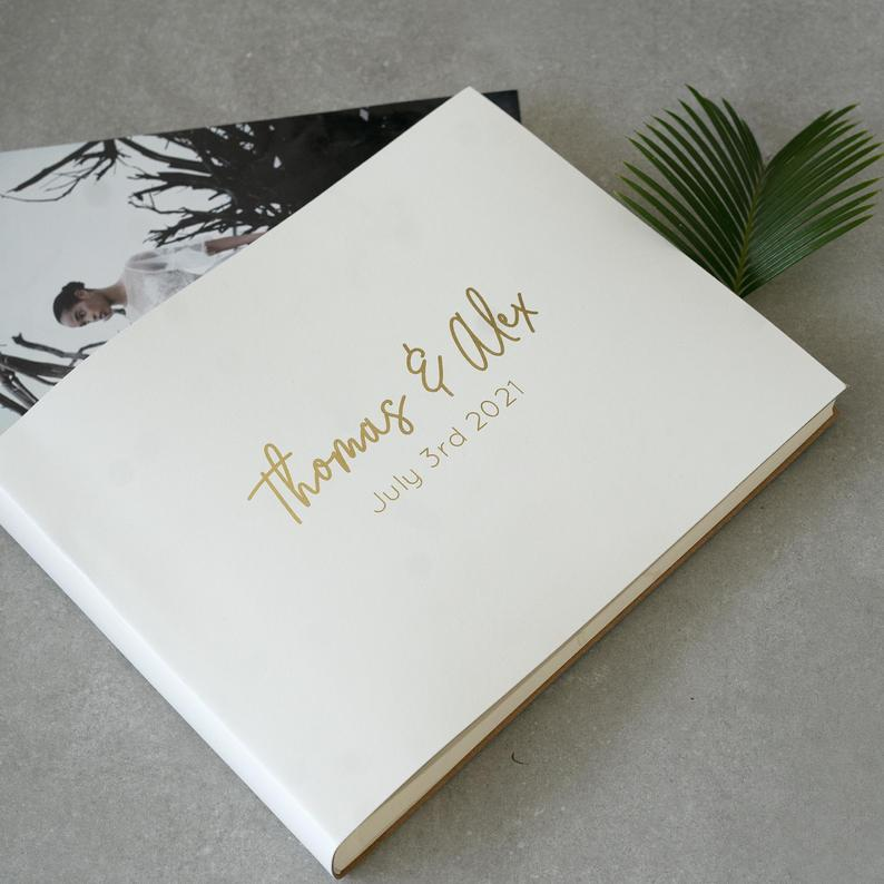 Personalised Wedding Photo Album Recycled Leather in 33