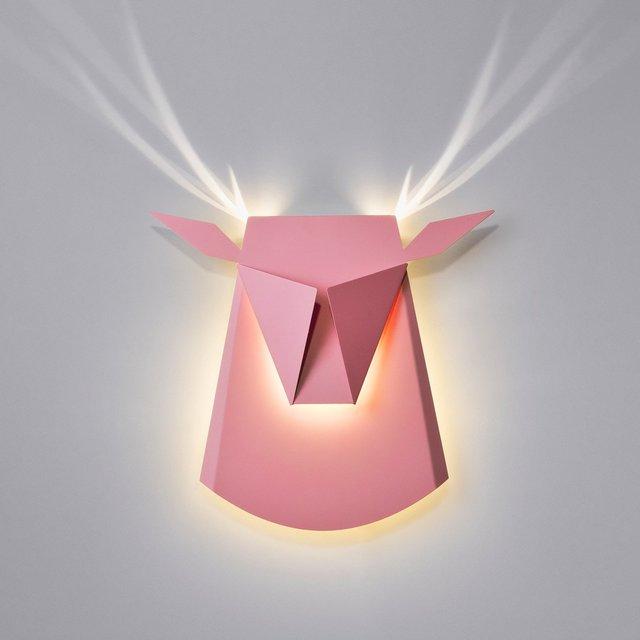 Pink LED Aluminium Deer Head Light Fixture