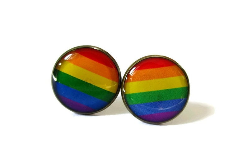RAINBOW FLAG Cufflinks  colorful cufflink  Equality cufflink