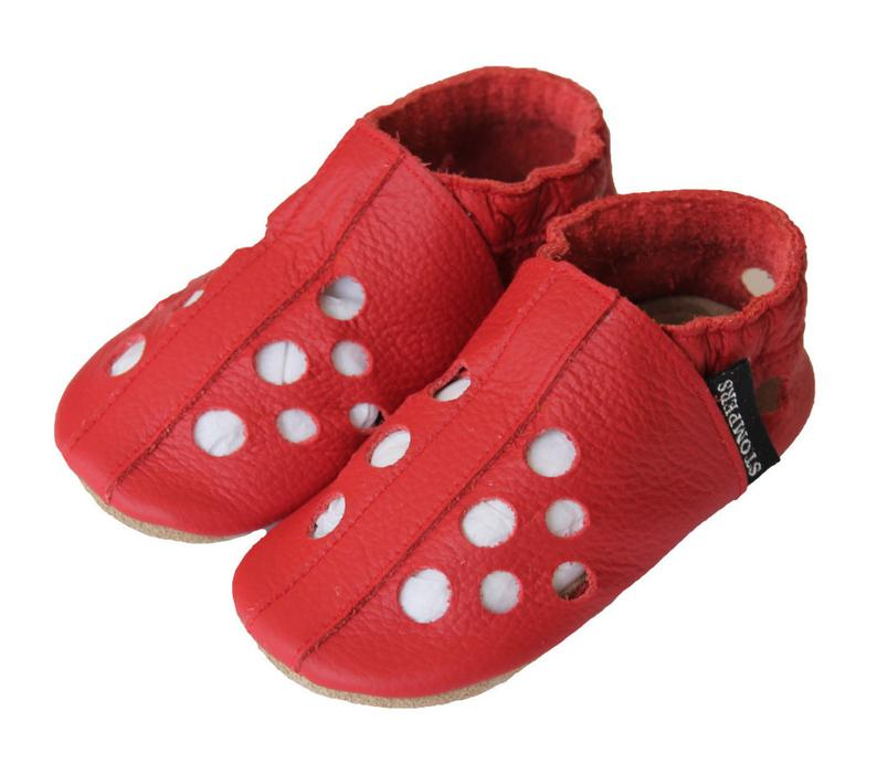 Red Baby Sandals Toddler Sandals Soft Sole Shoes Leather