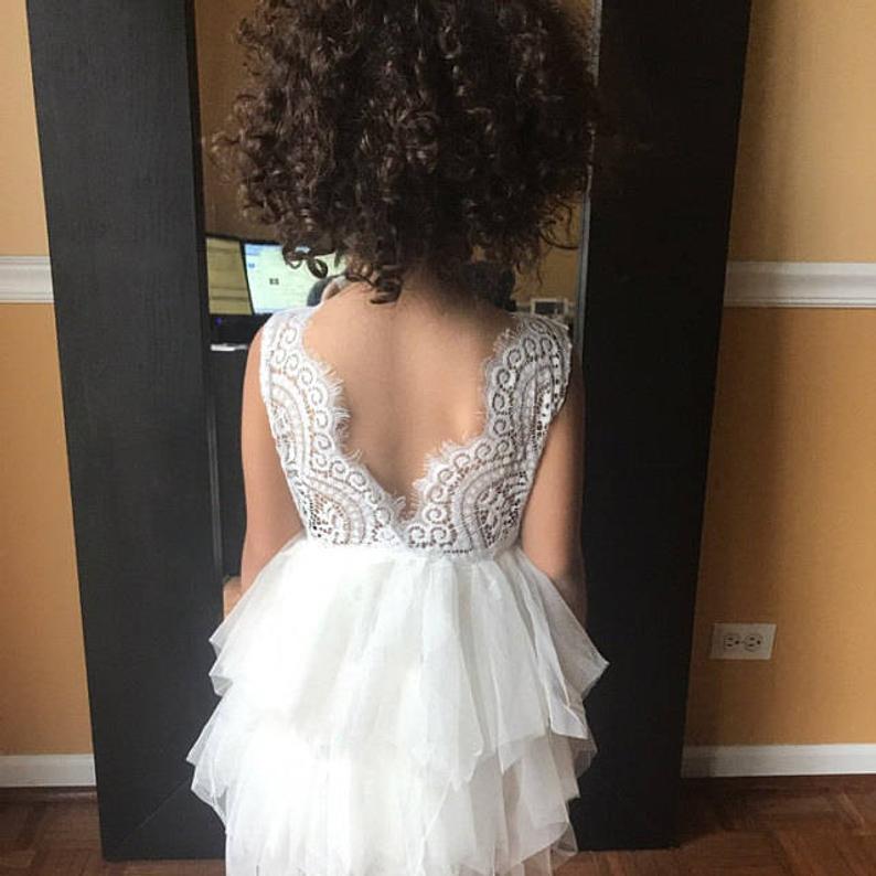 Romantic White Lace Flower Girl Dress Ivory Tulle Crochet