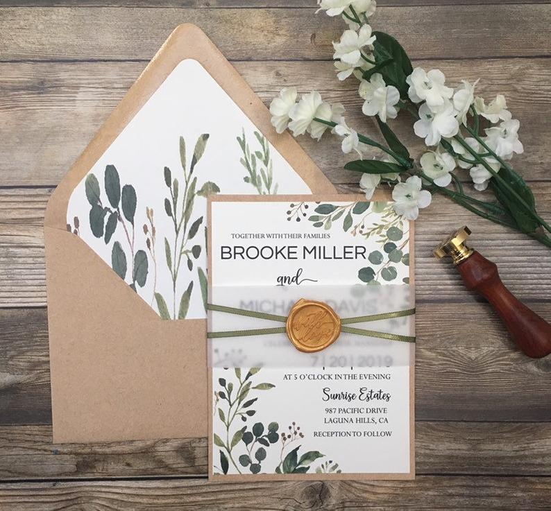 Rustic invitation greenery wedding invitation rustic