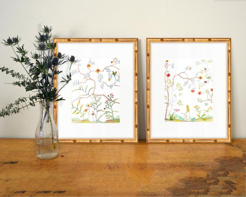 Set of 2 Chinoiserie Prints  SMc. Originals  watercolor