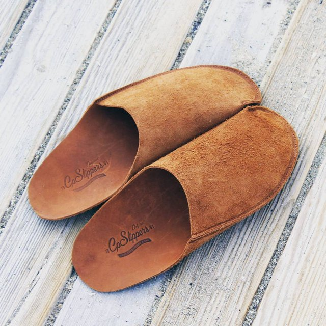 Tan Minimalist Leather Slippers