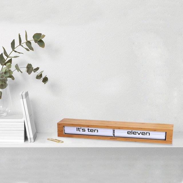 Texttime Bamboo White Clock and Floating Shelf