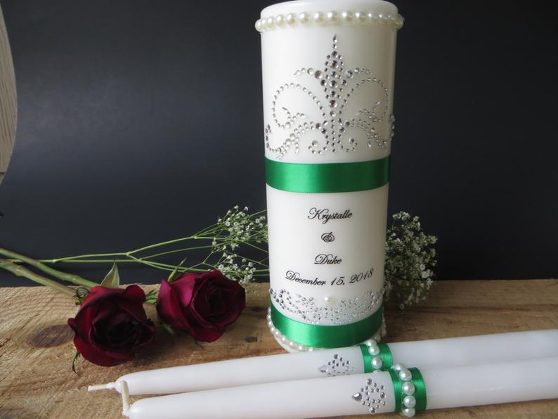 Three Piece Personalized Unity Candle set made with