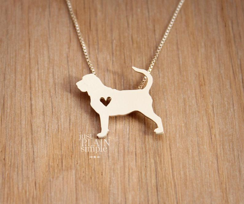 Tiny Bloodhound necklace  sterling silver hand cut pendant