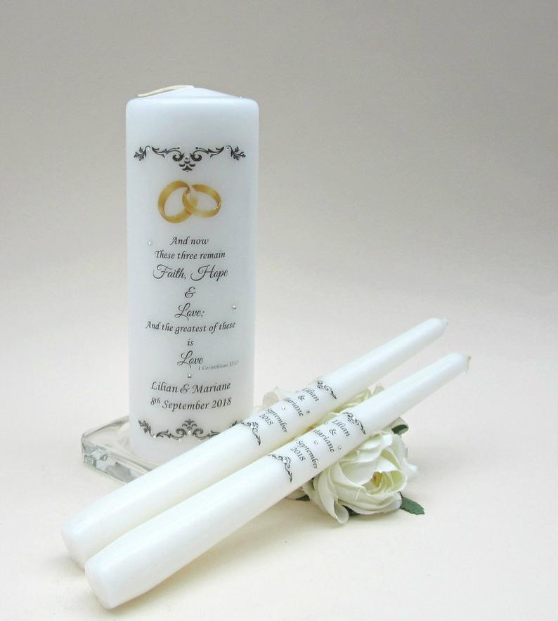 Unity Candle Set  Personalised Unity Candle  Wedding Candles