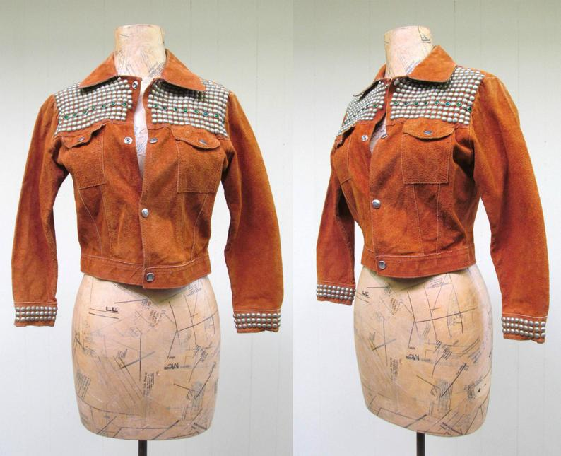 Vintage 1970s Li'l Rockstar Jacket 70s Rust Rough-Out
