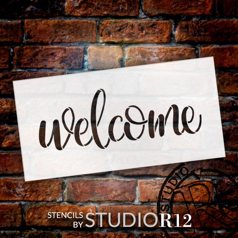 Welcome Sign Stencil by StudioR12  Reusable Paint Front