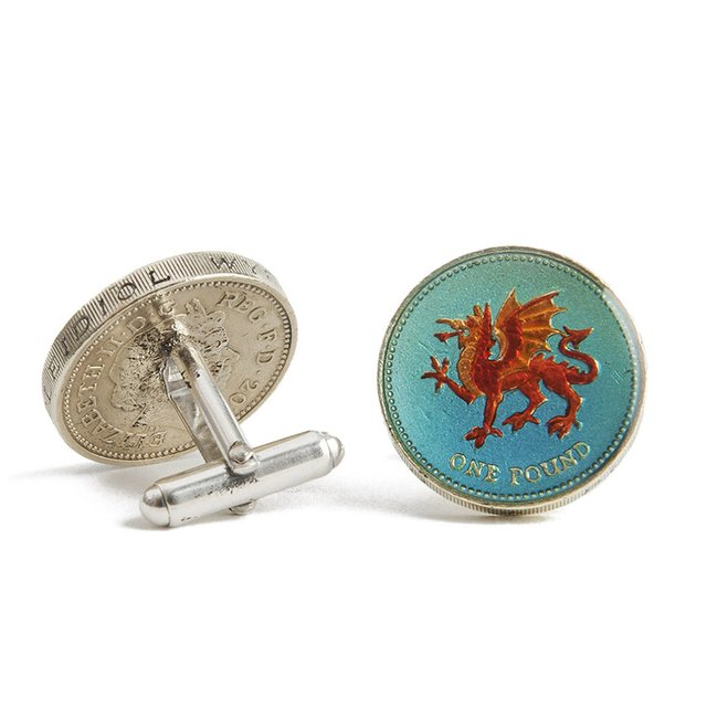 Welsh Pound Coin Cufflinks by Sir Jack's