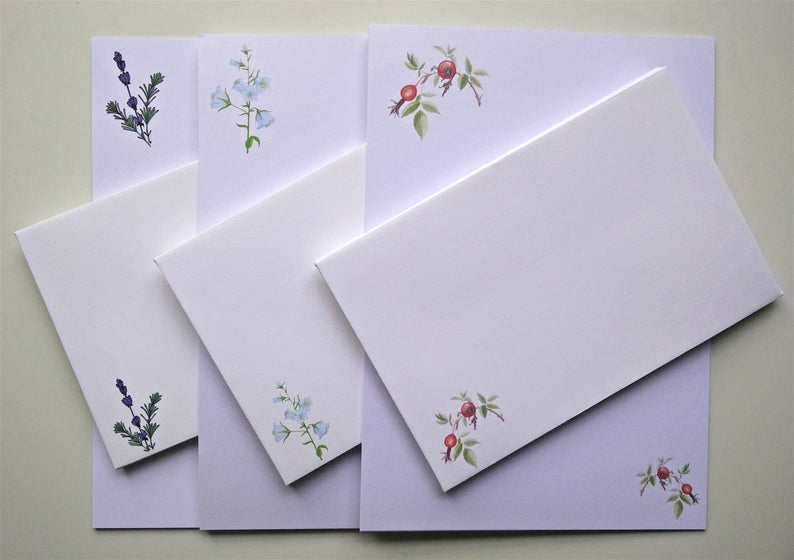 Writing Paper and Co-ordinating Envelope Packs  Rose Hips