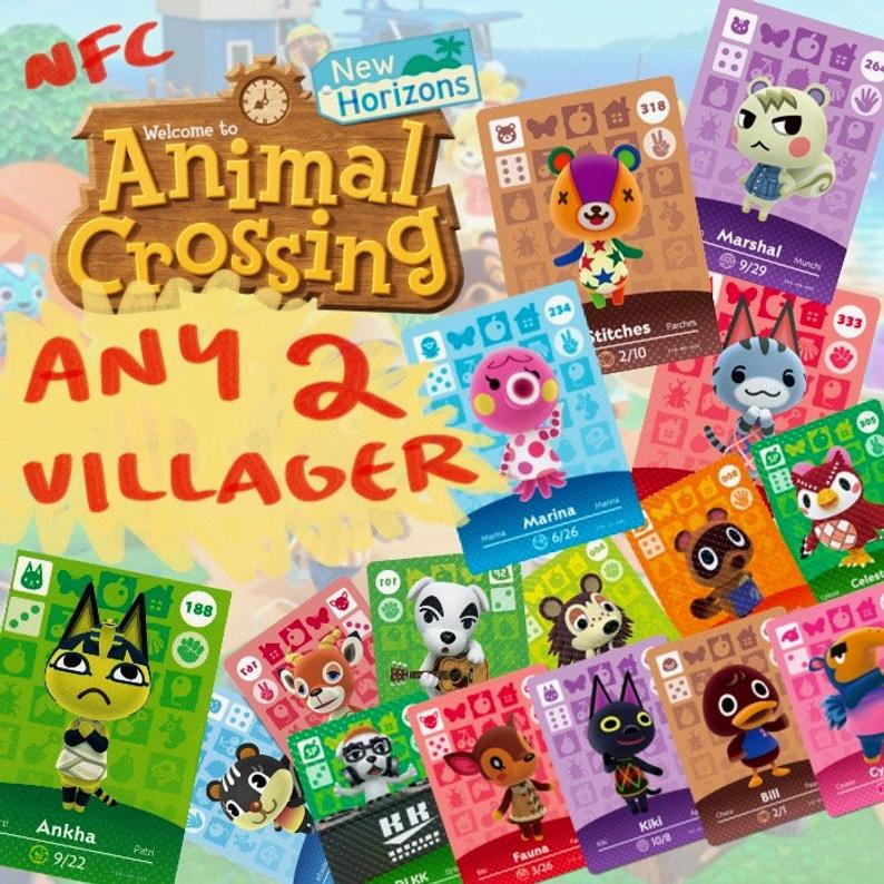 ANY TWO Animal Crossing Amiibo NFC Tag