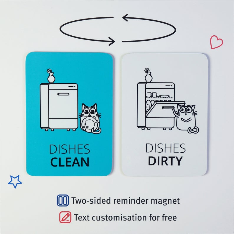Clean dirty dishwasher magnet  Funny dish washer reminder