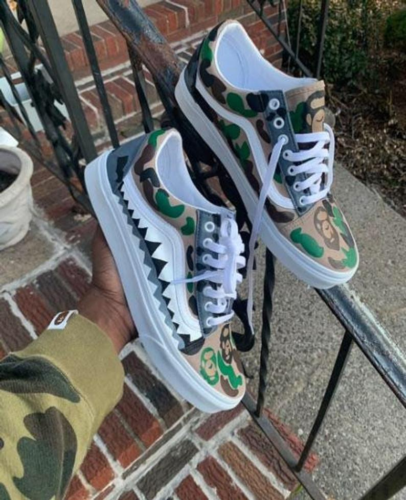 Custom Bape Camo Vans Low Top Old Skool Customized