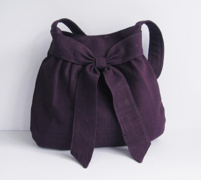 Deep Purple Hemp Purse  Shoulder Bag women fabric tote