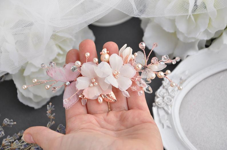 Flower hair flower rose gold hair piece silk flower ivory comb